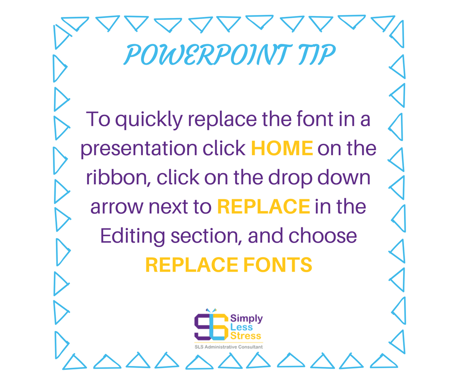 PowerPoint shortcut to replace fonts in presentation slides