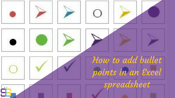 How to add bullet points into Excel